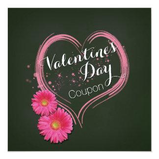 El corazón rosado florece la tarjeta de la cupón