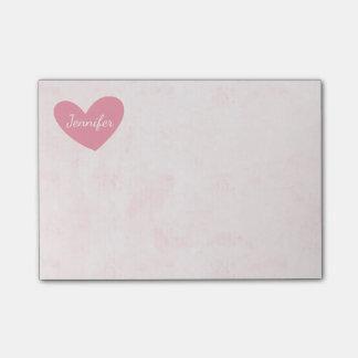 El corazón rosado personaliza la acuarela apenada notas post-it®
