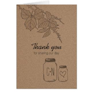 El corazón rústico del tarro de albañil de las tarjeta de felicitación