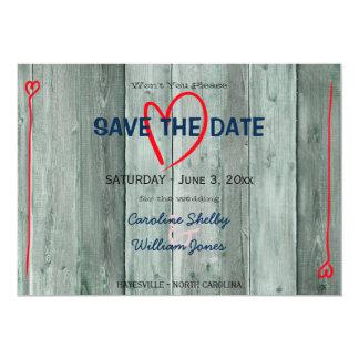 El corazón y la madera rojos de Rusitc ahorran la Invitación 12,7 X 17,8 Cm