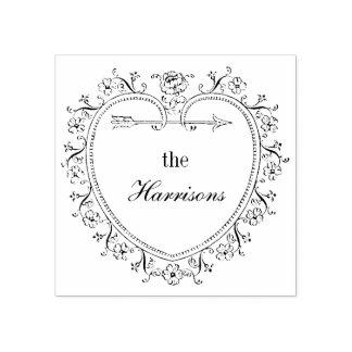El corazón y las flores del vintage personalizan sello de caucho