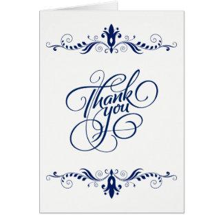 El cordón azul marino floral elegante le agradece tarjeta de felicitación