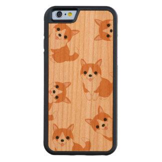El Corgi lindo persigue la caja de madera de la Funda De iPhone 6 Bumper Cerezo