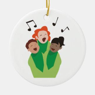 El coro de los niños adorno navideño redondo de cerámica
