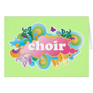 El coro retro colorido diseña el regalo tarjeta de felicitación