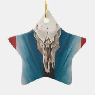 El cráneo de la vaca de Georgia O Keeffe: Rojo, Adorno Navideño De Cerámica En Forma De Estrella