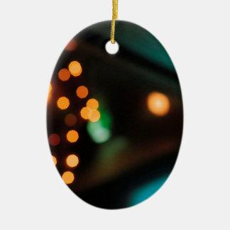 El cristal abstracto refleja comida campestre adorno de navidad