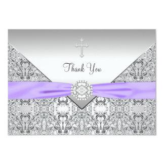 El cristiano elegante cruzado púrpura le agradece invitación 12,7 x 17,8 cm