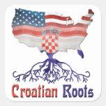 El croata americano arraiga a los pegatinas pegatina cuadradas personalizada
