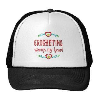 El Crocheting calienta mi corazón Gorros Bordados