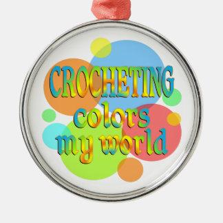 El Crocheting colorea mi mundo Adorno Redondo Plateado