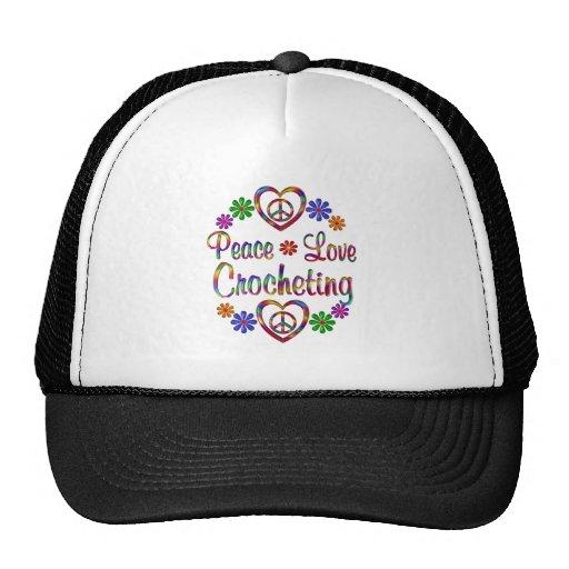 El Crocheting colorido del amor de la paz Gorras
