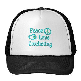 El Crocheting del amor de la paz Gorro