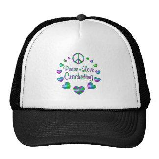 El Crocheting del amor de la paz Gorras De Camionero