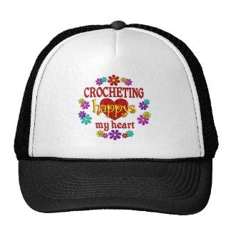 El Crocheting feliz Gorros Bordados