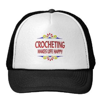 El Crocheting hace vida feliz Gorras