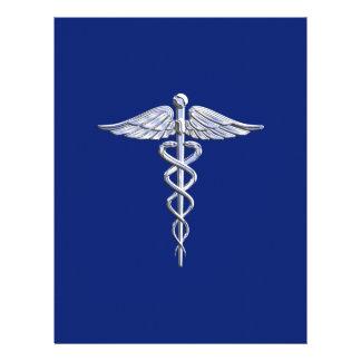 El cromo tiene gusto de símbolo médico del caduceo tarjetones
