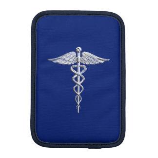 El cromo tiene gusto de símbolo médico del caduceo fundas de iPad mini