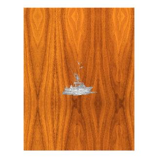 El cromo tiene gusto del barco de pesca en la membrete a diseño