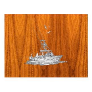 El cromo tiene gusto del barco de pesca en la postal