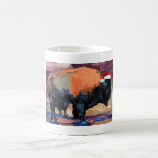 El cruzado del bisonte del navidad taza de café