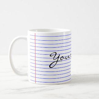 El cuaderno alinea (ponga su nombre) taza de café