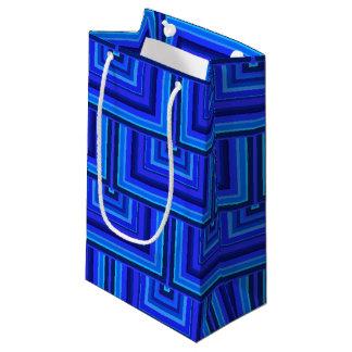 El cuadrado de las rayas azules escala el modelo bolsa de regalo pequeña