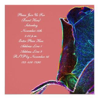 El cuadrado floral del rosa eléctrico del capullo invitación 13,3 cm x 13,3cm