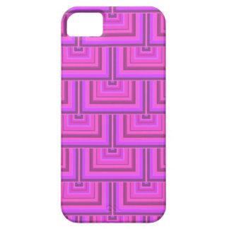 El cuadrado rosado de las rayas escala el modelo funda para iPhone SE/5/5s