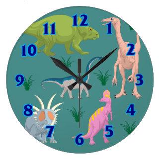 El cuarto de niños animal lindo colorido del reloj redondo grande