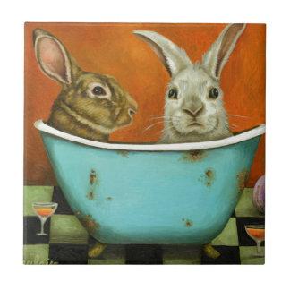 El cuento de dos conejitos azulejo de cerámica