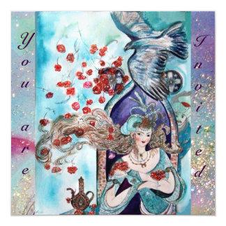 El CUENTO DE HADAS TURCO, rosa azul rojo brillante Invitación 13,3 Cm X 13,3cm