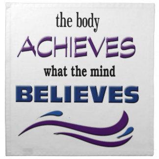 El cuerpo alcanza, mente cree servilleta de tela