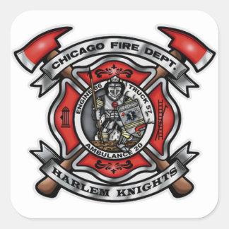 El cuerpo de bomberos de Chicago/Harlem Knights Pegatina Cuadrada