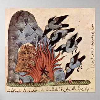 El cuervo con las alas dobla el fuego de Kais Salm Impresiones