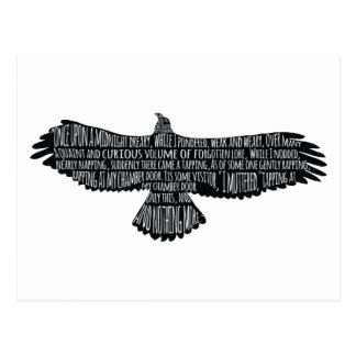 El cuervo por la postal de la tipografía de Edgar