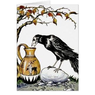 El cuervo y la tarjeta de la jarra