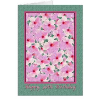El cumpleaños, 90.o, hibisco rosado florece la tar tarjeta de felicitación