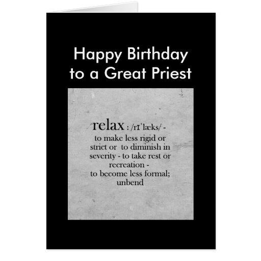 El cumpleaños a una gran definición del sacerdote tarjeta
