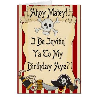 El cumpleaños afable del pirata del rojo Ahoy invi Felicitación