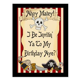 El cumpleaños afable del pirata del rojo Ahoy invi Tarjeta Postal