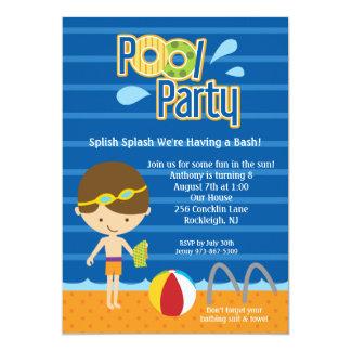 El cumpleaños azul de la fiesta en la piscina de invitación 12,7 x 17,8 cm
