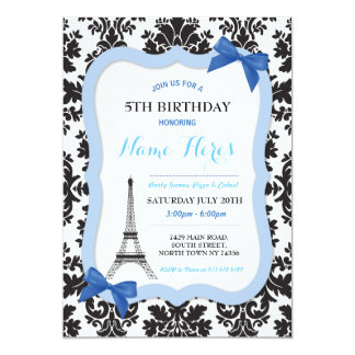 El cumpleaños azul del arco de la torre Eiffel de Invitación 12,7 X 17,8 Cm