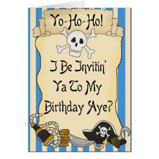 El cumpleaños azul del pirata de Yo de los piratas Tarjeta De Felicitación