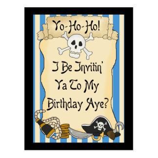 El cumpleaños azul del pirata de Yo Ho Ho invita Postal