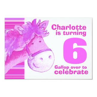 El cumpleaños blanco rosado del 6to cumpleaños del invitación 8,9 x 12,7 cm