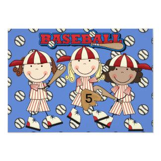 El cumpleaños de encargo del béisbol del chica invitación 12,7 x 17,8 cm
