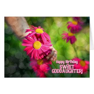 El cumpleaños de la ahijada - ramo rosado de la tarjeta de felicitación