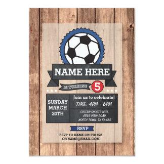 El cumpleaños de la bola del fútbol del fiesta de invitación 12,7 x 17,8 cm