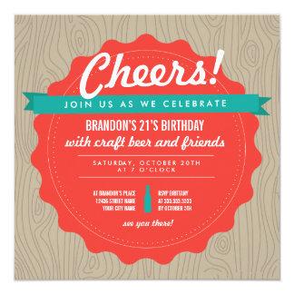 El cumpleaños de la cerveza del arte invita invitación 13,3 cm x 13,3cm